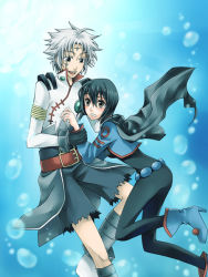 1boy 1girl arm_grab belt black_hair blue_background blush bodysuit breasts brown_eyes cape chloe_valens gloves grey_eyes grey_hair jacket open_mouth senel_coolidge shoes short_hair shorts tales_of_(series) tales_of_legendia tattoo water