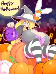 1girl blonde_hair blue_eyes breasts bunny cassie_(theycallhimcake) choker cleavage female gigantic_breasts halloween hat highres long_hair open_mouth original pumpkin shirt sitting skirt solo striped_thighhighs theycallhimcake thighhighs very_long_hair witch_hat