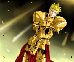 1boy armor blonde_hair crossed_arms dutch_angle earrings fate/stay_night fate_(series) gilgamesh jewelry marock red_eyes solo