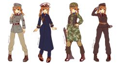 1girl :d ;) aiguillette alternate_costume battle_rifle black_boots black_gloves black_necktie black_pants black_shirt blazer blonde_hair blue_eyes boots brown_boots brown_pants camouflage clenched_hand closed_mouth collared_shirt commentary danielle_brindle full_body garrison_cap gloves grin gun hand_on_hip hat helmet highres iron_cross jacket kantai_collection knee_pads long_hair long_sleeves low_twintails military military_uniform multiple_views necktie one_eye_closed open_mouth pants peacoat peaked_cap prinz_eugen_(kantai_collection) rifle shirt shotgun simple_background smile standing twintails twitter_username uniform weapon white_background white_shirt wing_collar world_war_ii