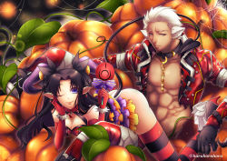 1boy 1girl alternate_costume anatomical_nonsense animal_ears archer ass bad_anatomy bare_shoulders black_gloves black_hair blue_eyes bracelet candy chains chest choker coat collar command_spell dog_ears dress earrings elf facing_viewer fate/stay_night fate_(series) gem gloves grey_eyes hair_ornament hair_ribbon halloween halloween_costume haru_(inamura4) high_heels highres hoop_earrings jewelry lollipop long_hair looking_at_viewer manly one_eye_closed pointy_ears pumpkin red_gloves ribbon shirt shoes short_hair silk smile spider_web spiked_bracelet spikes striped striped_dress striped_legwear tail thighhighs tohsaka_rin torn_clothes torn_shirt twintails twitter_username white_hair zettai_ryouiki