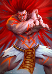 1boy abs belt big_hair evil_grin evil_smile full_body grin loincloth long_hair muscle navel necalli neon_trim red_hair shirtless smile solo street_fighter street_fighter_v tattoo watermark web_address yellow_eyes ynorka_chiu