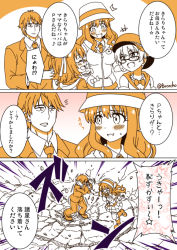 1boy 3girls akagi_(kantai_collection) bococho comic glasses hat idolmaster idolmaster_cinderella_girls jougasaki_rika monochrome moroboshi_kirari multiple_girls producer_(idolmaster_cinderella_girls_anime) translation_request