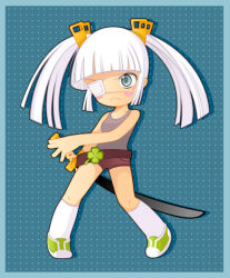 1girl alice_vysochina bangs belt blunt_bangs blush_stickers chibi clover eyepatch four-leaf_clover grey_eyes long_hair lowres original shoes shorts sneakers socks solo sword tank_top twintails weapon white_hair