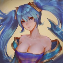 1girl bare_shoulders blue_dress blue_eyes blue_hair breasts cleavage collarbone dress female hair_between_eyes head_tilt highres large_breasts league_of_legends light_blue_hair long_hair looking_at_viewer neck raikoart serious solo sona_buvelle strapless strapless_dress twintails upper_body