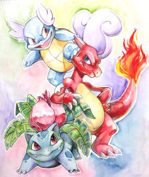 blue_eyes charmeleon claws clenched_teeth evolution fangs fire full_body ivysaur kuitsuku looking_at_viewer no_humans open_mouth pokemon pokemon_(creature) poking red_eyes standing teeth traditional_media wartortle watercolor_(medium)