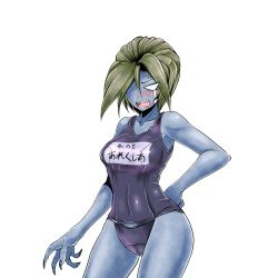 1girl alexia_ashford angry blue_skin breasts curvy erect_nipples fangs female highres monster_girl one-piece_swimsuit resident_evil resident_evil_code_veronica swimsuit