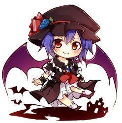 1girl bat_wings blue_hair chibi hat red_eyes remilia_scarlet short_hair solo tosura-ayato touhou wings