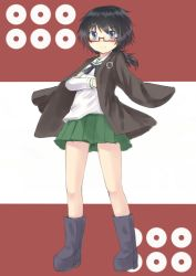 1girl bangs black_boots black_eyes black_hair black_neckerchief blouse boots closed_mouth crossed_arms full_body girls_und_panzer glasses green_skirt haori japanese_clothes kino_(kino_buro) light_smile long_sleeves looking_at_viewer messy_hair miniskirt neckerchief ooarai_school_uniform oryou_(girls_und_panzer) pleated_skirt red-framed_eyewear school_uniform semi-rimless_glasses serafuku short_hair short_ponytail skirt solo standing under-rim_glasses white_blouse