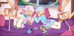 2boys 2girls ass bed blanc blush bound_ankles brown_hair choujigen_game_neptune choujigen_game_neptune_mk2 compile_heart dogoo dress eyes_closed feet foot_tickling hat idea_factory laughing long_hair lying multiple_boys multiple_girls neptune_(series) night no_shoes open_mouth panties pillow planeptune ram_(choujigen_game_neptune) rom_(choujigen_game_neptune) shiny shiny_hair short_hair siblings sisters smile soles striped striped_panties stuffed_animal stuffed_toy tickling toes twins white_legwear