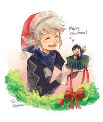 2boys blue_eyes blue_hair box christmas_ornaments fire_emblem fire_emblem:_kakusei fire_emblem_if gift gift_box kanna_(fire_emblem_if) mark_(fire_emblem) multiple_boys simple_background weapon