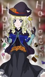 1girl blonde_hair blue_eyes braid breasts candy chocolate dress fingerless_gloves frills gloves halloween hat lollipop long_hair shirley_fennes smile tales_of_(series) tales_of_legendia witch witch_hat