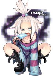 1girl aqua_eyes blue_eyes boots combat_boots dress fang flat_chest food frown gym_leader hair_bobbles hair_ornament highres homika_(pokemon) ice_cream knee_boots off_shoulder open_mouth pixelated pokemon pokemon_(game) pokemon_bw2 short_dress short_hair simple_background sleeves_past_wrists spiked_hair spread_legs squatting striped striped_dress teeth topknot white_background white_hair