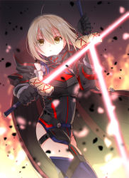 1girl ahoge armor black_gloves blonde_hair blurry blurry_background braid cape dual_wielding energy_sword excalibur expressionless fate_(series) french_braid gloves heroine_x heroine_x_(alter) highres holding holding_weapon iroha_(shiki) long_sleeves revision saber solo sword thighhighs weapon yellow_eyes