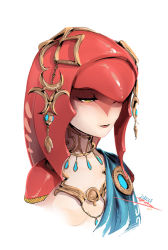 1girl breasts downcast_eyes fish_girl jewelry long_hair mike_nesbitt mipha monster_girl multicolored multicolored_skin necklace no_nipples red_hair red_skin small_breasts solo the_legend_of_zelda the_legend_of_zelda:_breath_of_the_wild upper_body white_skin yellow_eyes zora