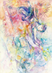1girl abstract aji77 blue_eyes blue_hair earphones floating_hair highres open_mouth original outstretched_arms reaching_out short_hair smile solo traditional_media watercolor_(medium)