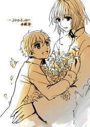 1boy 1girl fancybetty flower monochrome sakura_hime short_hair smile time_paradox tsubasa_chronicle xiaolang younger