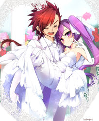 1boy 1girl ^_^ aisha_(elsword) artist_name bangs bare_shoulders blurry bow breasts bridal_veil bride carrying cleavage closed_mouth collared_shirt cross cross_earrings depth_of_field dimension_witch_(elsword) dress dress_shirt earrings elbow_gloves elsword elsword_(character) eyebrows eyebrows_visible_through_hair eyes_closed floating_hair formal garden gloves hair_between_eyes hair_ribbon happy heart hetero high_heels highres infinity_sword_(elsword) jacket jewelry kuroshio_maki lace_border light_particles long_dress long_hair long_sleeves looking_at_viewer medium_breasts necktie open_mouth pants pantyhose princess_carry purple_eyes purple_hair railing red_hair ribbon sash shirt shoes smile standing strapless strapless_dress swept_bangs tuxedo twintails v veil very_long_hair wedding wedding_dress white_bow white_dress white_gloves white_jacket white_legwear white_necktie white_pants white_ribbon white_shirt white_shoes