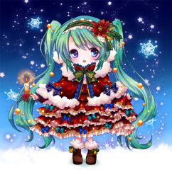 1girl blue_eyes candle chibi christmas frills green_hair hairband hatsune_miku koyoi_(ruka) lolita_hairband long_hair looking_at_viewer open_mouth snowflakes solo twintails vocaloid