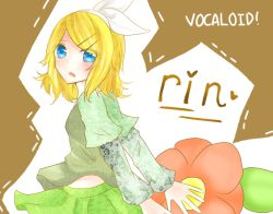 1girl blonde_hair blue_eyes character_name copyright_name hair_ornament kagamine_rin open_mouth short_hair solo vocaloid