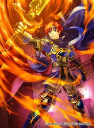 1boy armor artist_request blue_eyes boots cape company_connection copyright_name fingerless_gloves fire fire_emblem fire_emblem:_fuuin_no_tsurugi fire_emblem_cipher gloves headband holding holding_weapon male_focus red_hair roy_(fire_emblem) serious short_hair sword thigh_boots thighhighs weapon