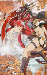 2girls ass ass_cutout breasts brown_hair dress eyes_closed hyakka_ryouran_samurai_girls large_breasts long_hair multiple_girls official_art red_hair sideboob standing tail tokugawa_sen underboob white_dress yagyuu_juubei_(hyakka_ryouran) yellow_eyes