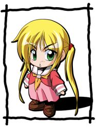 1girl :< blonde_hair blush chibi green_eyes hayate_no_gotoku! lowres sanzen'in_nagi school_uniform shadow solo twintails