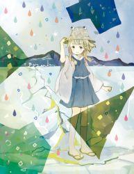 1girl blonde_hair droplet hair_ribbon hat moriya_suwako mountain onigiri_(ginseitou) rain ribbon short_hair solo touhou yellow_eyes