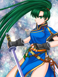 1girl 74 china_dress chinese_clothes earrings fingerless_gloves fire_emblem fire_emblem:_rekka_no_ken gloves green_eyes green_hair holding_sword jewelry long_hair lyndis_(fire_emblem) ponytail serious side_slit solo sword very_long_hair weapon