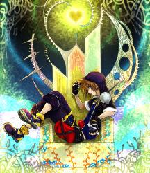 hoodie kingdom_hearts short_jacket sora_(kingdom_hearts) throne