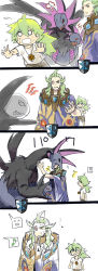 ... /\/\/\ 2boys angry biting child comic eyepatch fangs gameplay_mechanics geechisu_(pokemon) ghetsis_(pokemon) head_biting hydreigon jewelry kurobis long_hair long_image multiple_boys multiple_heads musical_note n_(pokemon) necklace o_o open_mouth pokemon pokemon_(creature) pokemon_(game) pokemon_bw quaver red_eyes running saliva scared simple_background tall_image wet white_background younger