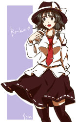 1girl black_eyes black_hair bow character_name drink hair_bow hat highres necktie open_mouth ribbon short_hair sketch skirt solo syn touhou usami_renko