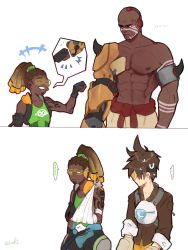 ... 1girl 2boys 2koma abs areolae armor bald bare_shoulders bomber_jacket brown_hair brown_jacket clenched_hand comic dark_skin dark_skinned_male doomfist_(overwatch) facial_hair fist_bump goatee goggles hairlocs harness headphones headphones_around_neck high_ponytail highres jacket leather looking_at_another lucio_(overwatch) multiple_boys muscle overwatch shirtless simple_background spiked_hair spoken_ellipsis sweatdrop tank_top tattoo tracer_(overwatch) twitter_username visor white_background