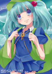 1girl absurdres artist_name backpack bag blue_eyes blue_hair blush bubble dated dress hair_bobbles hair_ornament hat highres kawashiro_nitori key looking_at_viewer puffy_short_sleeves puffy_sleeves ribbon shirt short_hair short_sleeves short_twintails skirt skirt_set solo touhou twintails