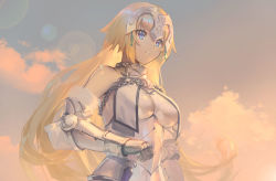 1girl aguy armor blue_eyes breasts chains cloud cowter fate/apocrypha fate_(series) faulds fur_trim gauntlets gorget hand_on_hilt lens_flare lips long_hair outdoors ruler_(fate/apocrypha) sky solo