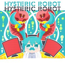 1girl album_cover aqua_hair bkub commentary_request cover english fake_mustache glasses hatsune_miku labcoat long_hair monitor robot twintails vocaloid