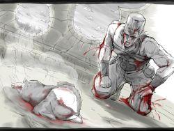 akabashira_(unholywars12) blood death dust highres iggy_(jojo) jean_pierre_polnareff jojo_no_kimyou_na_bouken