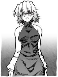 1girl arm_warmers bare_shoulders breasts covered_eyes crying dress greyscale hair_over_eyes halterneck mizuhashi_parsee monochrome ootsuki_wataru pointy_ears shaded_face short_hair solo tears touhou