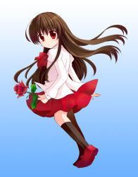 1girl black_legwear brown_hair flower gradient gradient_background holding ib ib_(ib) kashiwadokoro long_hair looking_at_viewer pleated_skirt red_eyes rose shoes simple_background skirt socks solo