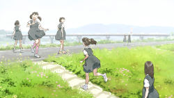 ankle_socks bridge commentary grass highres jumper kneehighs levee long_hair looking_back multiple_girls original ponytail road_sign running school_uniform short_hair short_twintails sign smile stairs tnt_(aaaazzzz) twintails walking waving