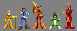 2girls 3boys aang arm_cannon avatar:_the_last_airbender boomerang capcom dark_skin fire fur_trim grey_background hairband helmet katara m-keane multiple_boys multiple_girls parody rockman rockman_(classic) saw_blade scar simple_background sokka staff toph_bei_fong water weapon zuko