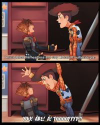 2boys 2koma alternate_form animal_print belt blue_eyes brown_eyes brown_hair comic cow_print cowboy_hat desk electric_socket eye_contact fingerless_gloves gloves hat kingdom_hearts kingdom_hearts_iii looking_at_another multiple_boys open_mouth outstretched_arms pixar scarf sheriff_badge sheriff_woody shouting sora_(kingdom_hearts) spiked_hair subtitled toy toy_story uzucake vest