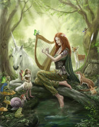 1girl animal bag barefoot cape capri_pants coin_purse corset dagger deer facial_mark fairy fantasy feet forehead_mark forest frog harp highres instrument jewelry long_hair medieval mushroom nature original pants plaid plaid_pants polearm red_hair ring satchel shirt sleeveless sleeveless_shirt snail soaking_feet spear tattoo unicorn water wavy_hair weapon weasel