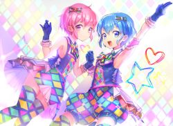 1boy 1girl a_k_o arm_up armpits bare_shoulders blue_eyes blue_hair blush bow brother_and_sister checkered checkered_legwear dorothy_west dress gloves hair_bow hands_together highres leona_west looking_at_viewer mole mole_under_eye open_mouth pink_eyes pink_hair pripara revision short_hair siblings sleeveless smile thighhighs trap twins