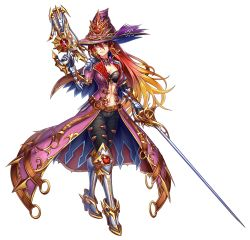 1girl adriesta adriesta_(brave_frontier) armor belt belt_buckle bow bowtie brave_frontier breasts buckle capelet chains choker cleavage coat collar dagger dual_wielding gauntlets gradient_hair greaves gun hair_ornament hat_ornament highres large_breasts long_coat long_hair midriff multicolored_hair navel official_art ornate_clothing rapier red_eyes red_hair short_sleeves solo sword weapon