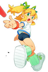 ass baton blonde_hair capcom floating_hair green_eyes gym_uniform hair_ribbon highres om_(nk2007) open_mouth outstretched_arm ribbon rockman rockman_(classic) roll shoes short_sleeves sneakers