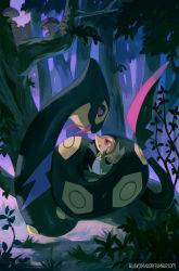 artist_name bluekomadori branch fangs forest mushroom night no_humans plant pokemon pokemon_(game) seviper snake snivy tree web_address