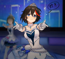 1girl black_hair blue_eyes blush breasts choker dancing dress gloves hair_between_eyes hirundo_rustica idolmaster jewelry kill_la_kill matoi_ryuuko medium_breasts multicolored_hair necklace red_hair short_hair sleeveless sleeveless_dress solo streaked_hair tiara white_gloves