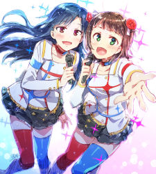2girls :d amami_haruka blue_hair blue_legwear blush boots breasts brown_eyes brown_hair choker flower frills green_eyes hair_flower hair_ornament highres idolmaster kisaragi_chihaya long_hair microphone mismatched_legwear multiple_girls open_mouth outstretched_hand red_legwear redrop short_hair signature skirt smile sweat thighhighs