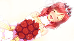 1girl :d ^_^ bouquet detached_collar dress dutch_angle eyes_closed flower fur_collar holding holding_flower love_live!_school_idol_project nishikino_maki off-shoulder_dress open_mouth red_hair ribbon rose simple_background smile solo sparkle tiara veil wedding_dress white_background yu-ta